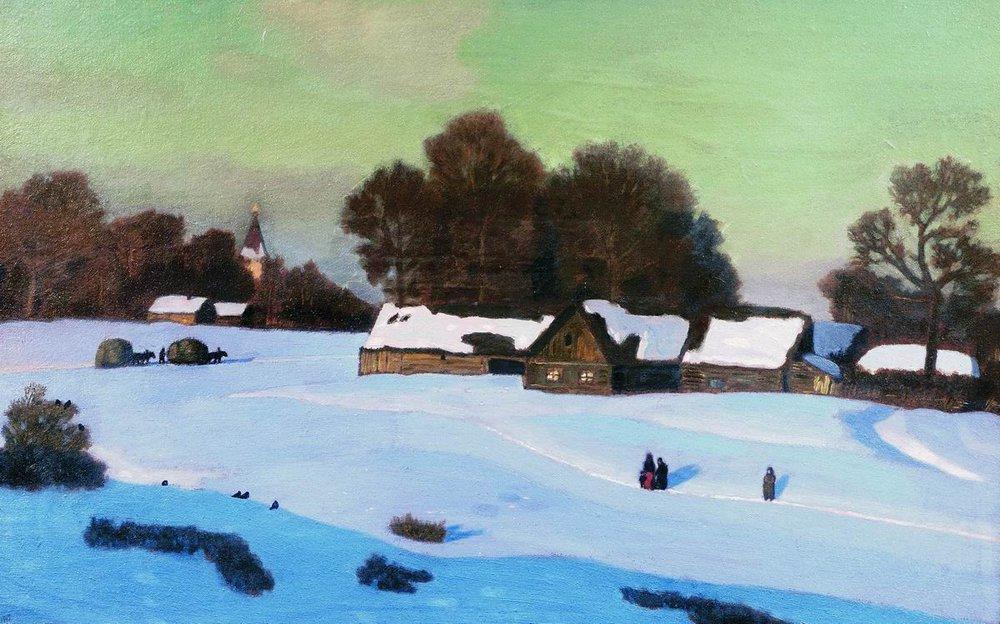 Зимние деревни ы картинах художников